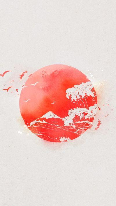 Nipon Eastern Sun Japan Waves iPhone 5 Wallpaper | Inspiration | Pinterest | Japan and Wallpaper