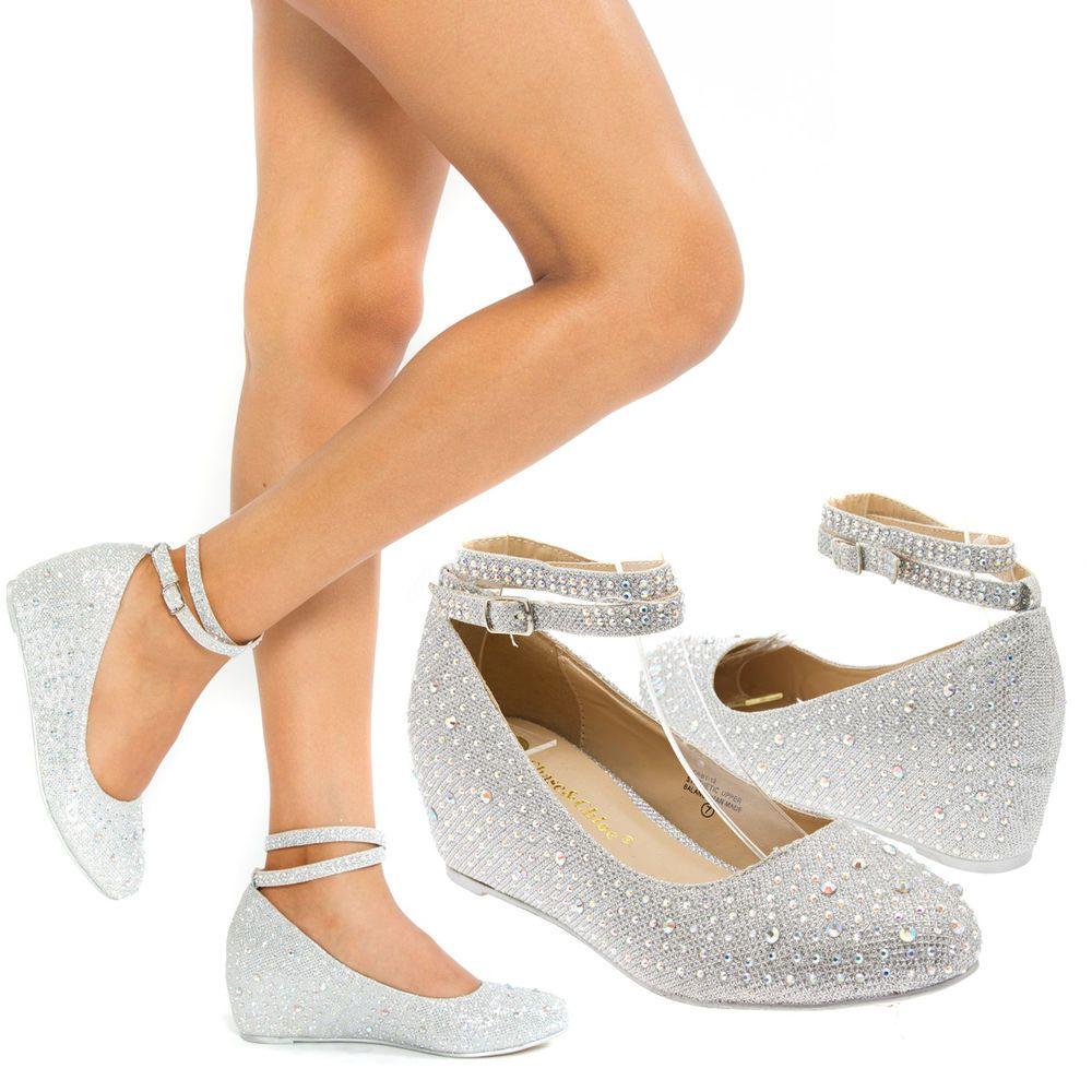 silver heels for wedding Women Silver Ankle Strap Crystal Wedge Med Low Heel Pump Wedding Bridal Shoe 9