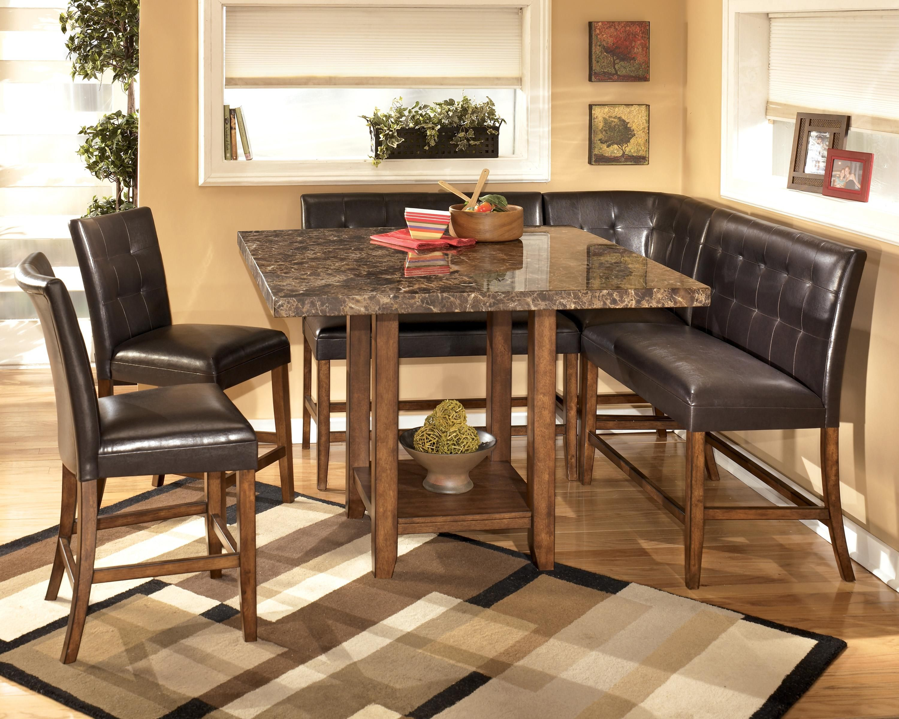 counter height kitchen tables Lacey Corner Counter Height Dining Room Set by Signature Design in Casual Dining Sets The rich contemporary design of the Lacey dining room collection