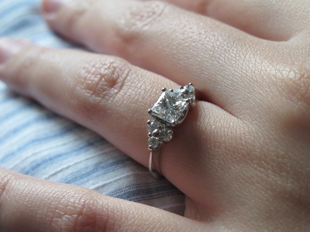 square diamond wedding rings 1 Carat Diamond Engagement Ring Princess Cut With Halo 25