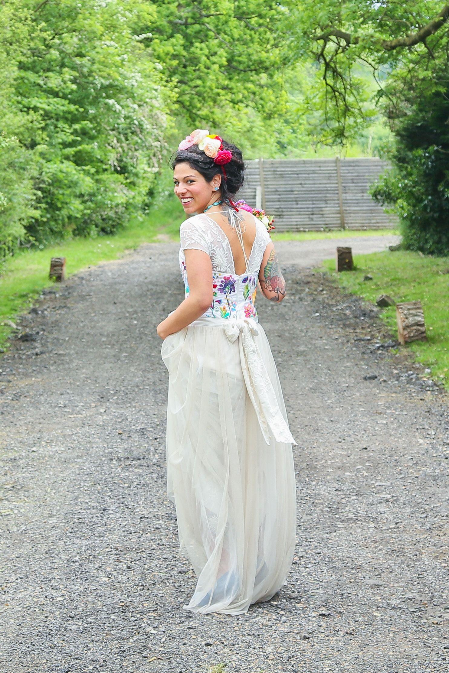 handmade wedding dresses Mexican folk flowers Frida Kahlo inspired wedding dress handmade wedding dress wedding dreadlocks