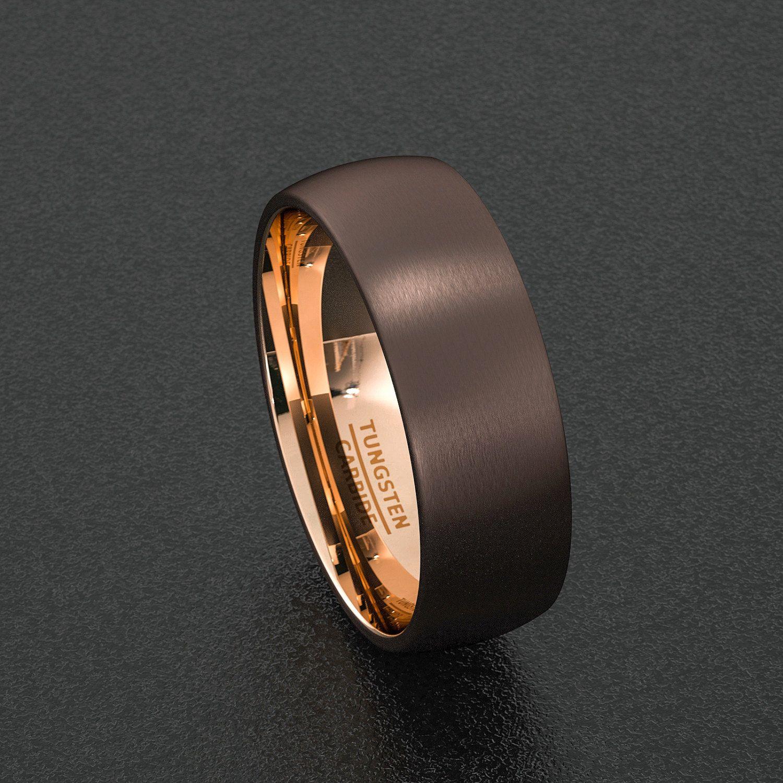 dinosaur wedding band Mens Wedding Band Rare 8mm Dark Espresso Collection Brown Tungsten Et 13