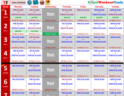 Turbo Fire Class Schedule | TurboFire « Excel Workout ...