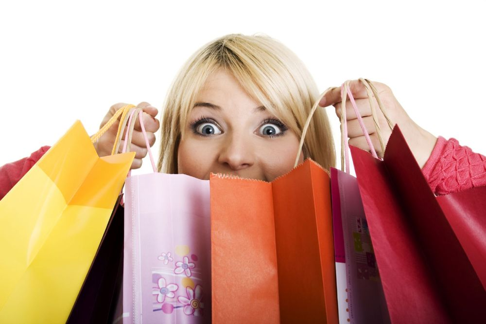 Image result for lady with shopping bags