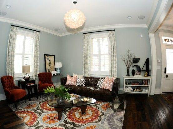 blue gray walls brown couchfav so far by amytbusch grey furniture