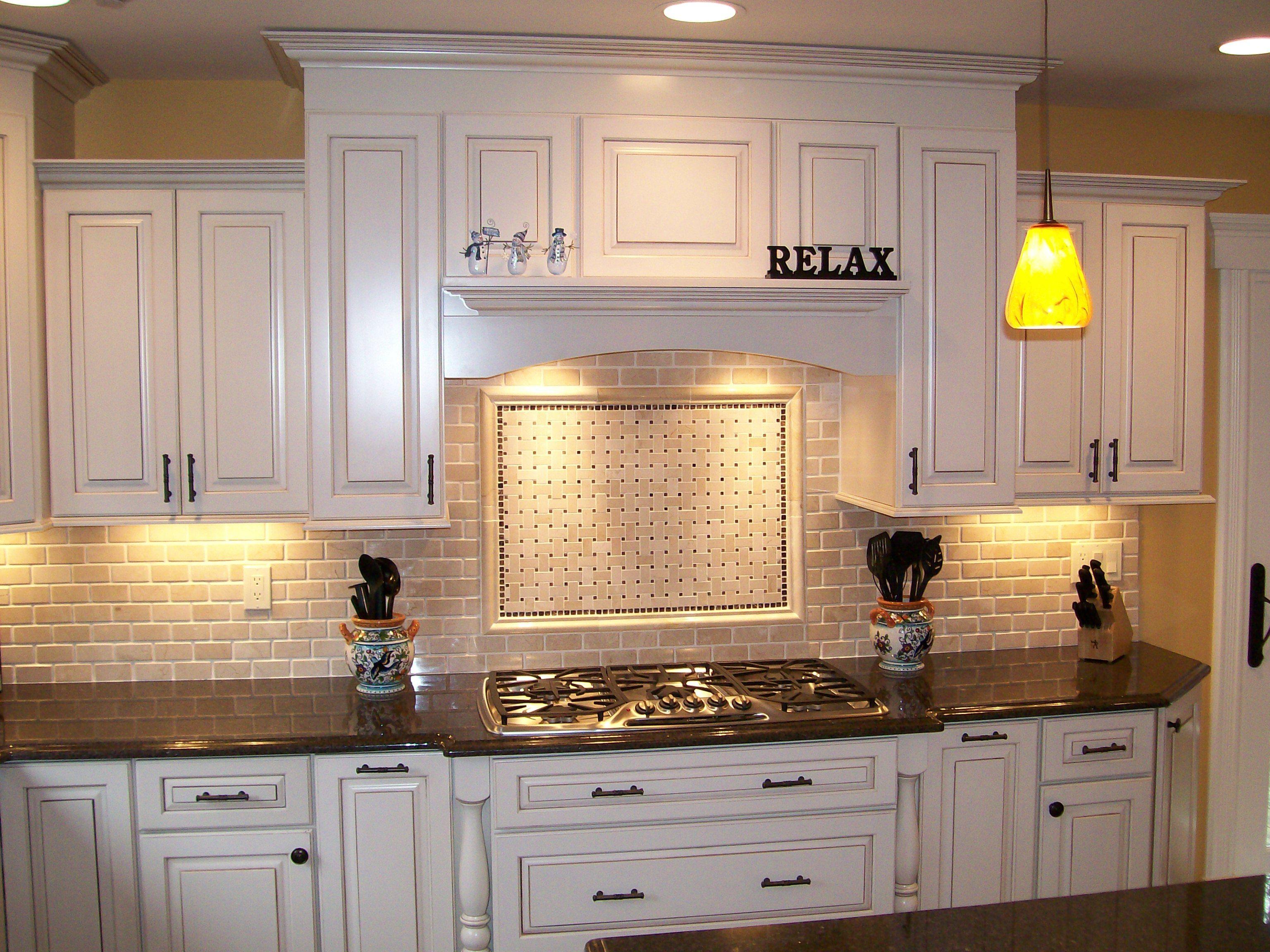 kitchen backsplash ideas white cabinets white cabinet kitchens Kitchen Nice Brick Backsplash In With White Cabinet And