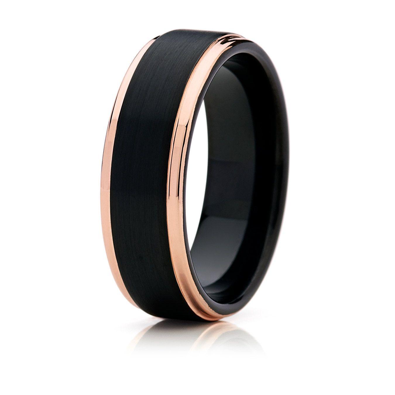 mens black wedding rings Black with Rose Gold Tungsten Mens Wedding BandTungsten Wedding BandTungsten Wedding RingTungsten Unisex Band Anniversary Ring