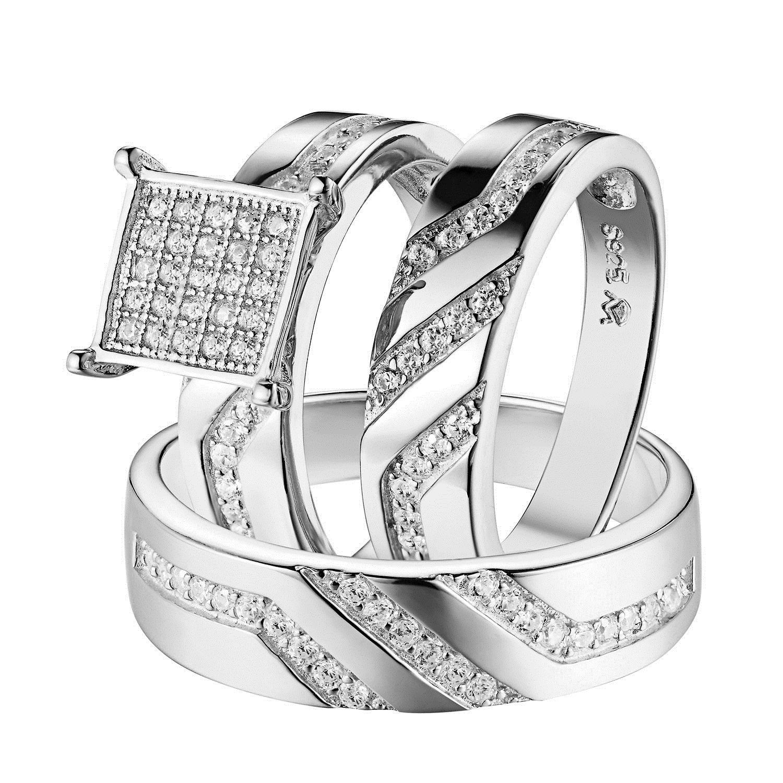 ebay wedding rings sets Rings Trio Wedding Engagement Ring Set For Men Women Sterling Silver Rhodium Tone