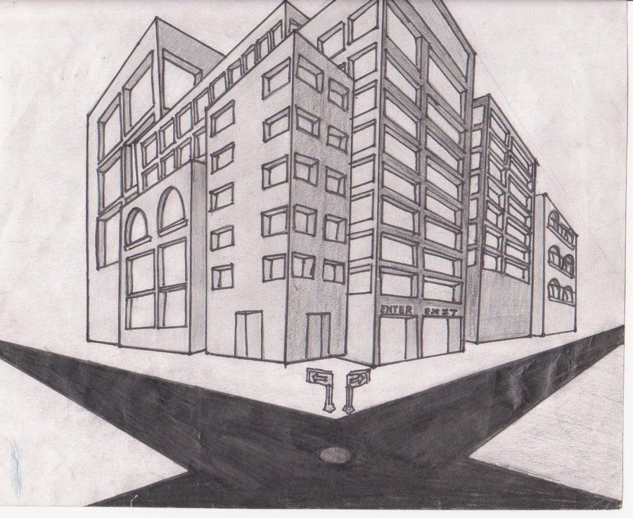 Unique Perspective Drawings Of Buildings Building Art Drawing By And Inspiration
