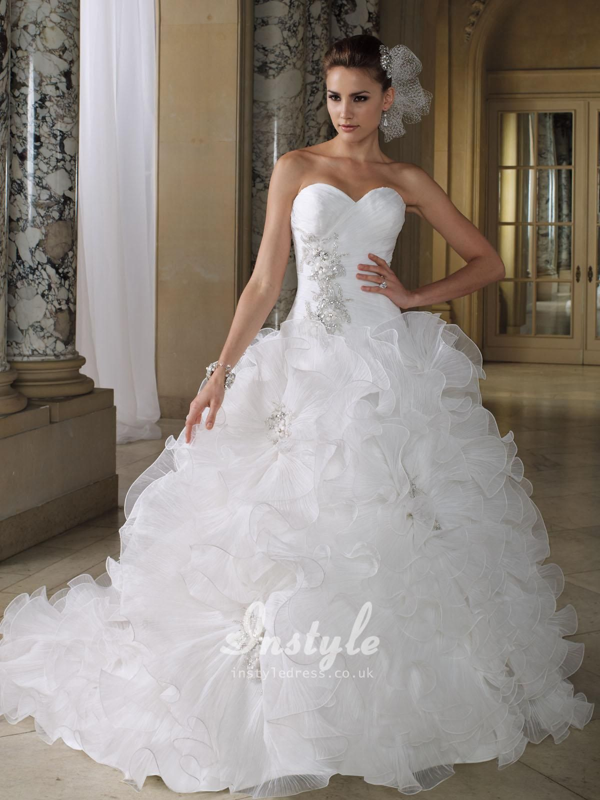 big poofy wedding dresses wedding dresses with bling sweetheart neckline with color on the back Crystal Pleated Organza Ruffled