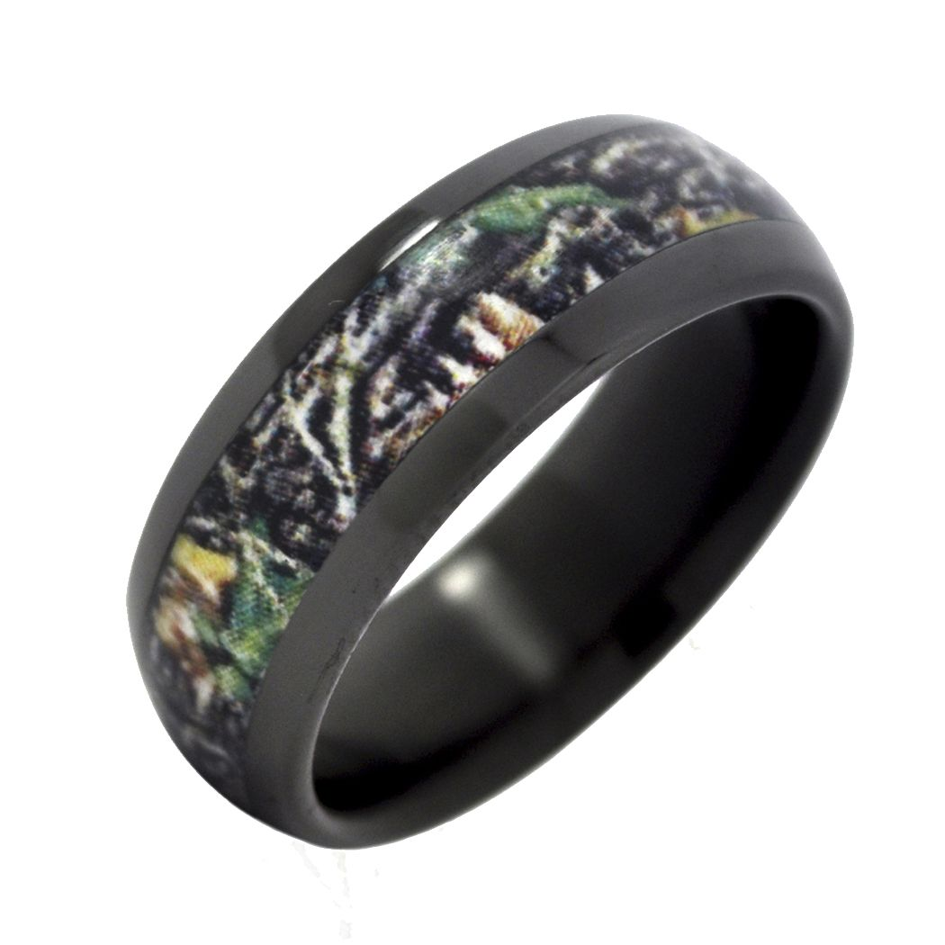 camo wedding rings Fable Designs Black Zirconium with Mossy Oak New Break up Camouflage Inlay Wedding Band