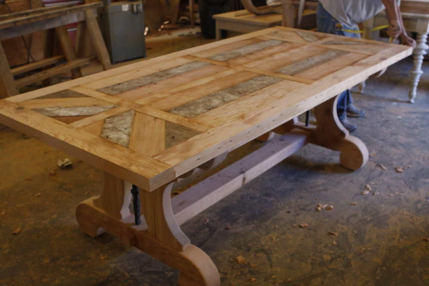 custom kitchen tables Custom Trestle Dining Table With Leaf Extensions Built In Reclaimed Wood