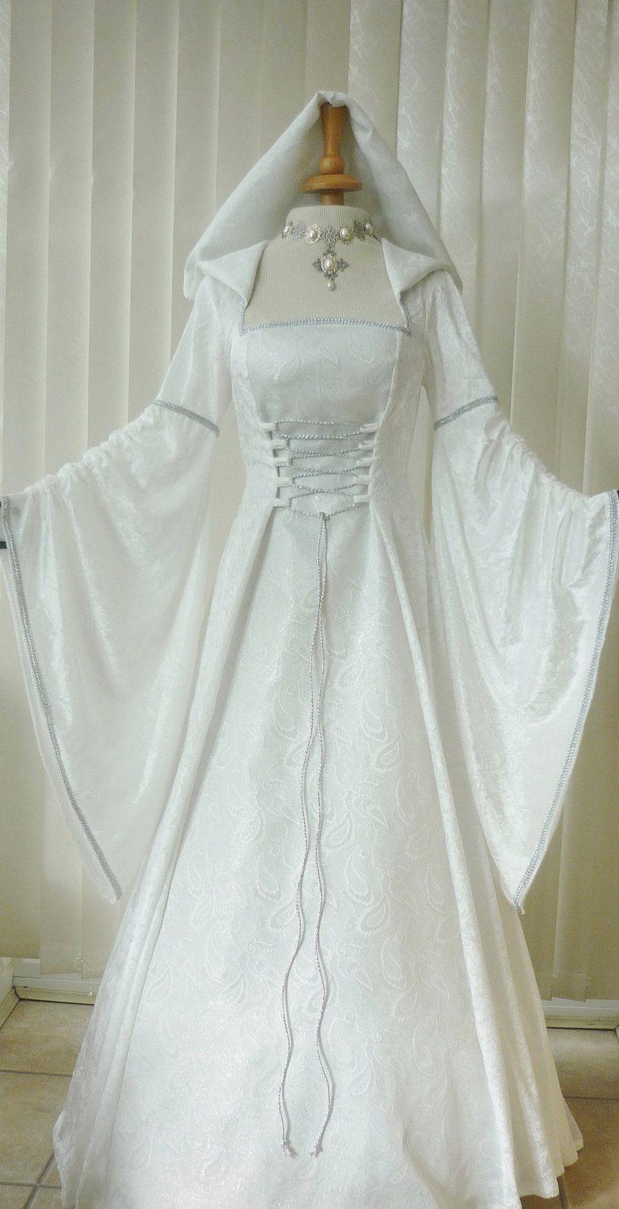 medieval wedding dress Medieval Pagan Renaissance Ivory Silver Hooded Wedding Dress Dawns Medieval Dresses