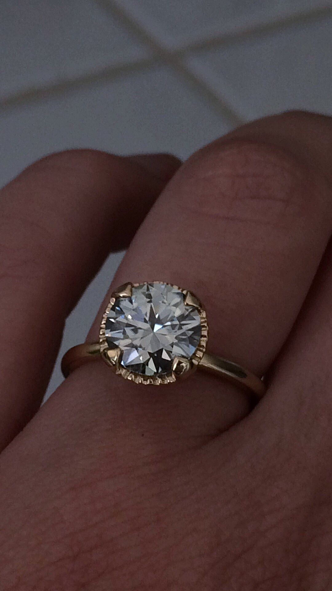 ebay wedding rings sets EBay moissanite set and obsessed Weddingbee Grey moissanite in yellow gold