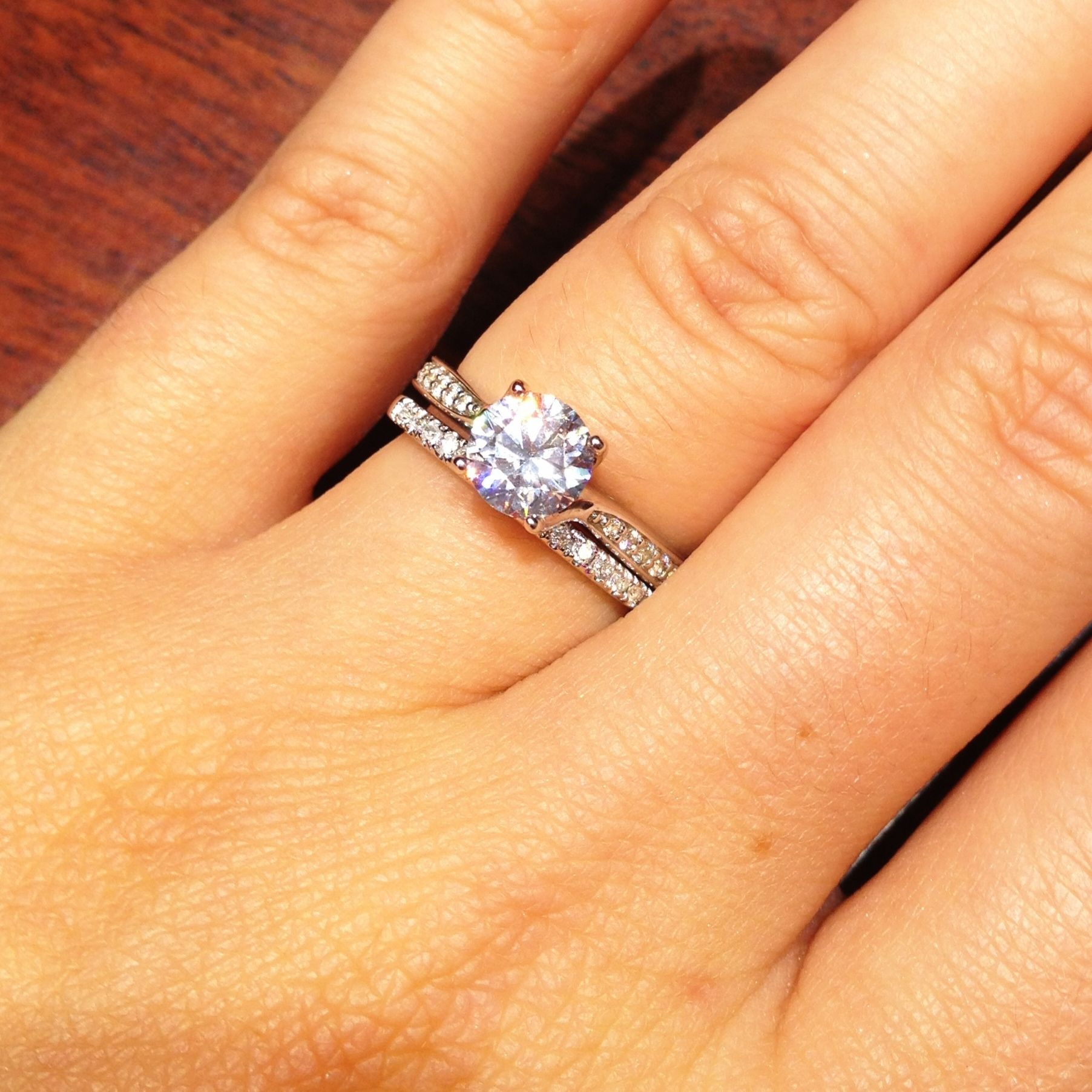 wedding band rings 1 Carat Round Solitaire Engagement Ring Wedding Band