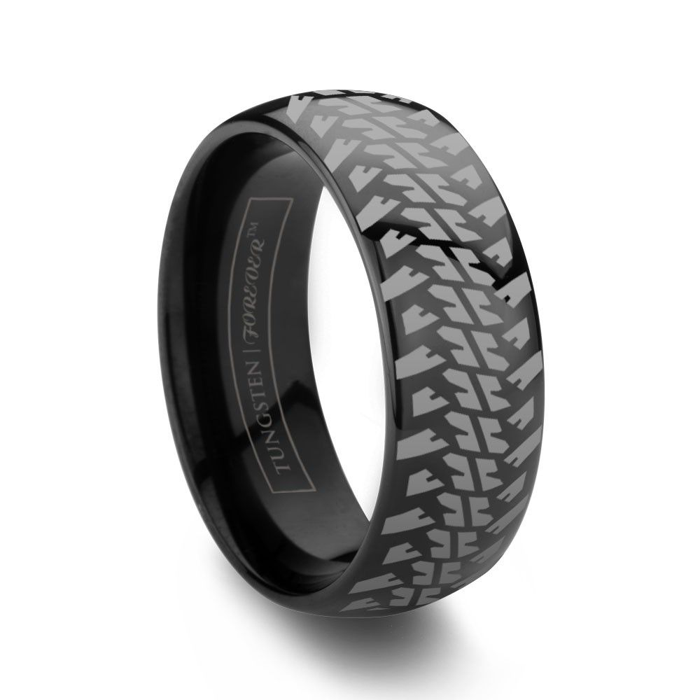 mud tire wedding rings NITTO 6MM 8MM Rugged Tire Tread Ring Black Tungsten Carbide Wedding Band