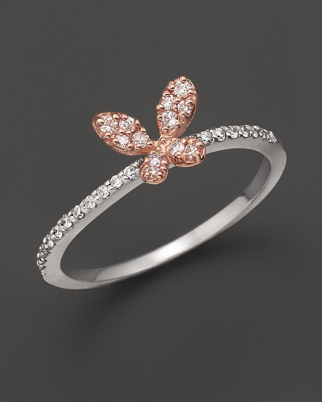 butterfly wedding rings Diamond butterfly ring set in 14K rose white gold