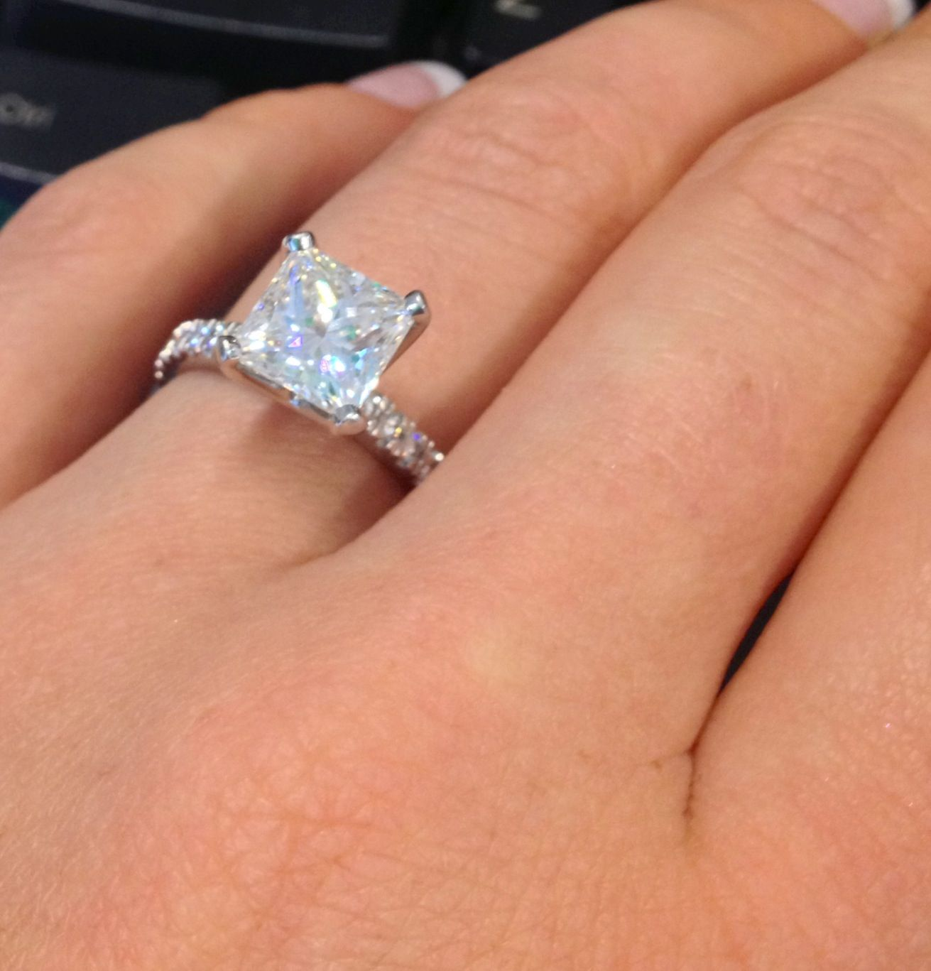 huge wedding ring Princess cut engagement ring Sparkly pave style with a pretty large rock
