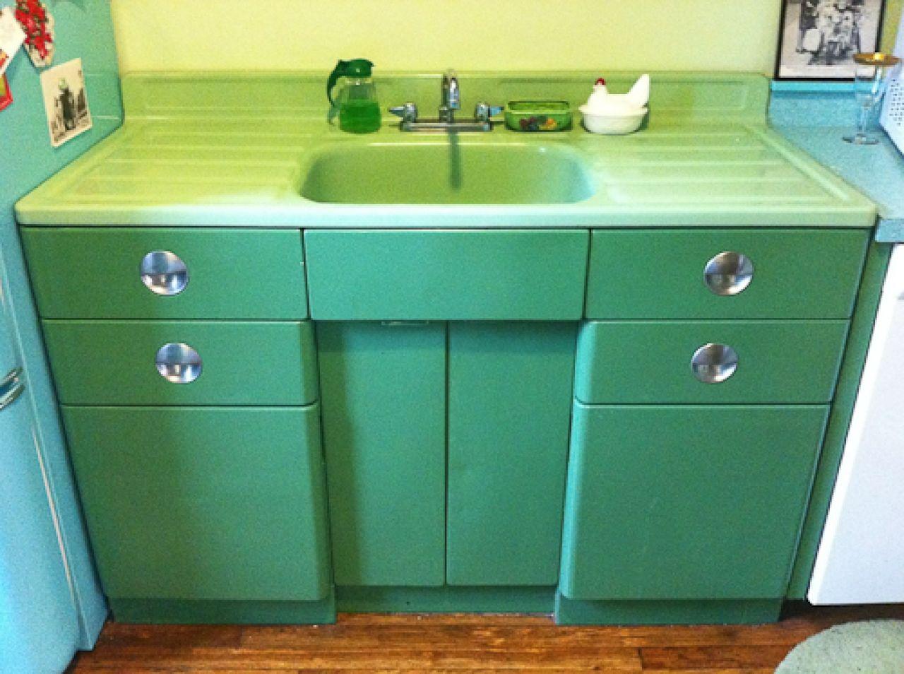 kitchen sink cabinets Vintage Metal Kitchen Cabinet Vintage jadeite porcelain drainboard sink and metal sink cabinet