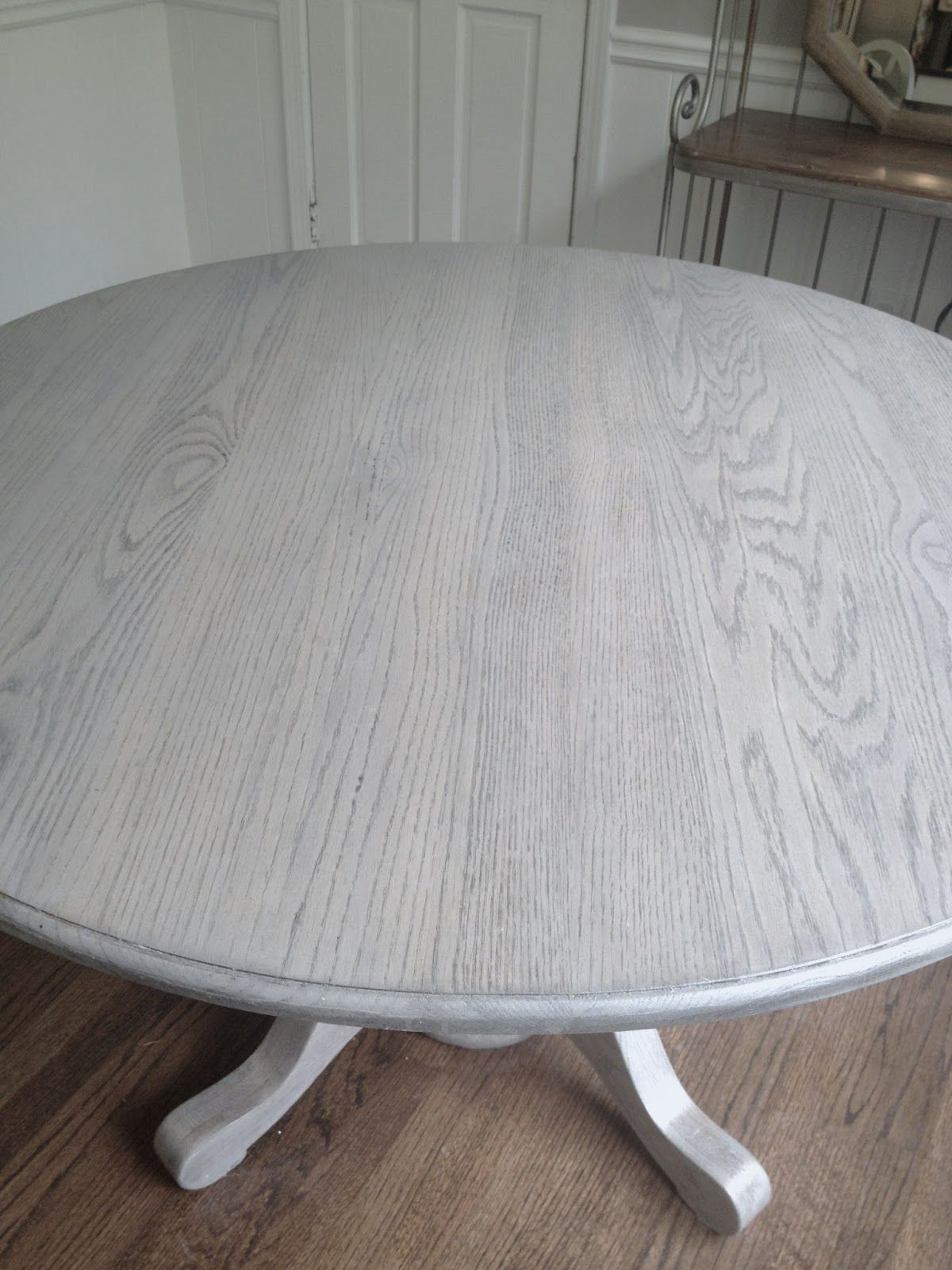 gray kitchen table Refinishing dining table gray Long and Found DIY Kitchen Table Refresh