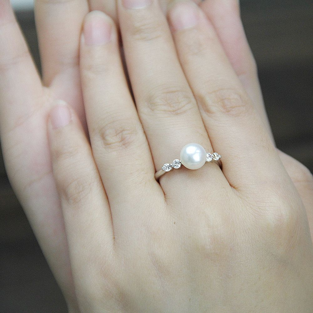 birthstone wedding rings Real pearl ring cubic zirconia engagement rings june birthstone ring cheap wedding rings