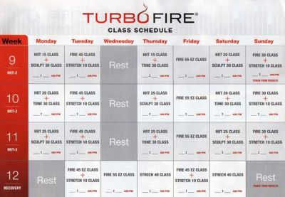 TurboFire Class Schedule Month3 | DVD Fitness Schedules ...