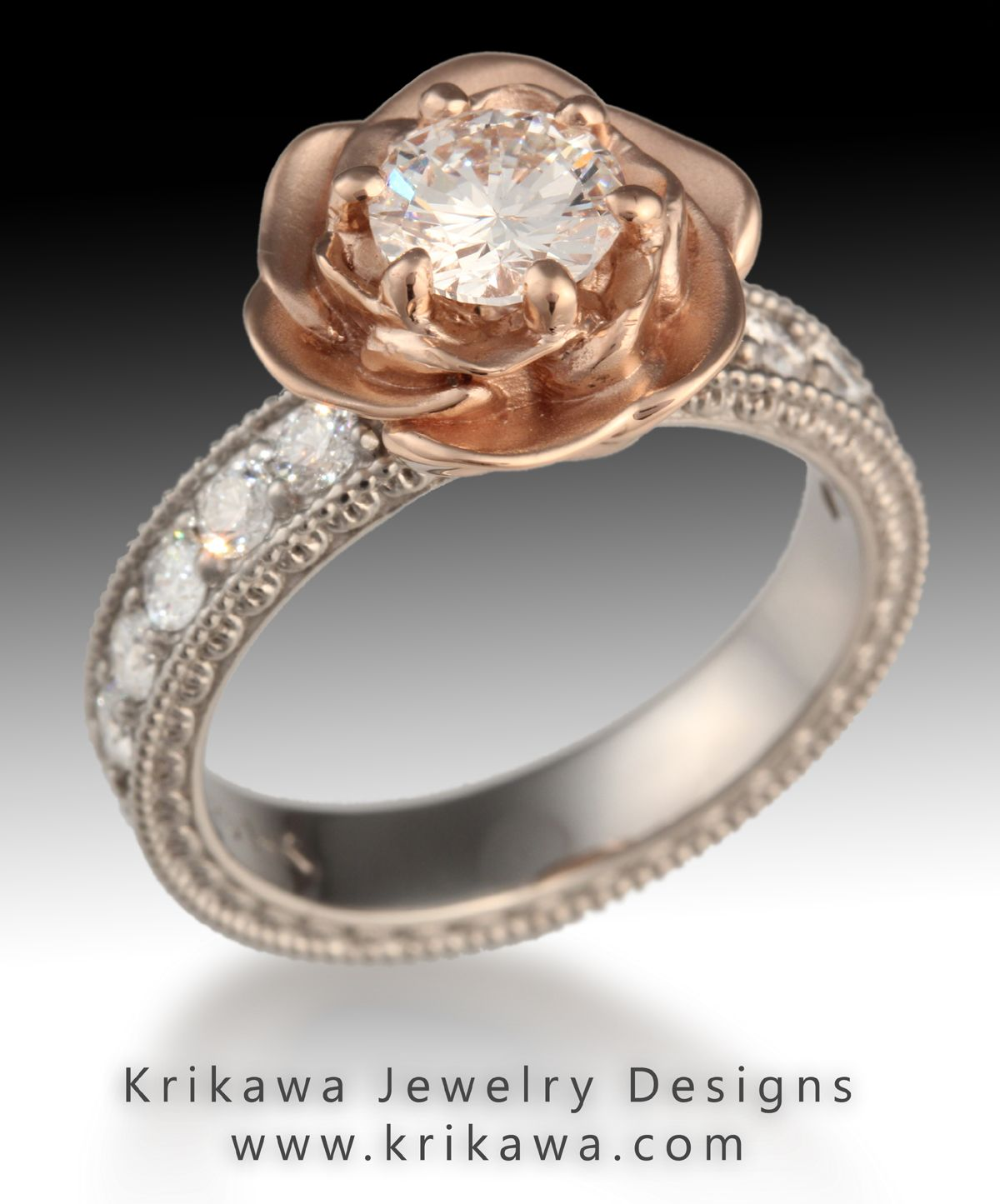 rose gold wedding rings Vintage Engagement Ring with Rose Gold and a Rose Flower