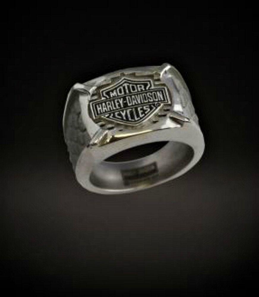 harley davidson wedding bands Harley Davidson Stamper Men s Bar and Shield Gray Titanium Signet Ring