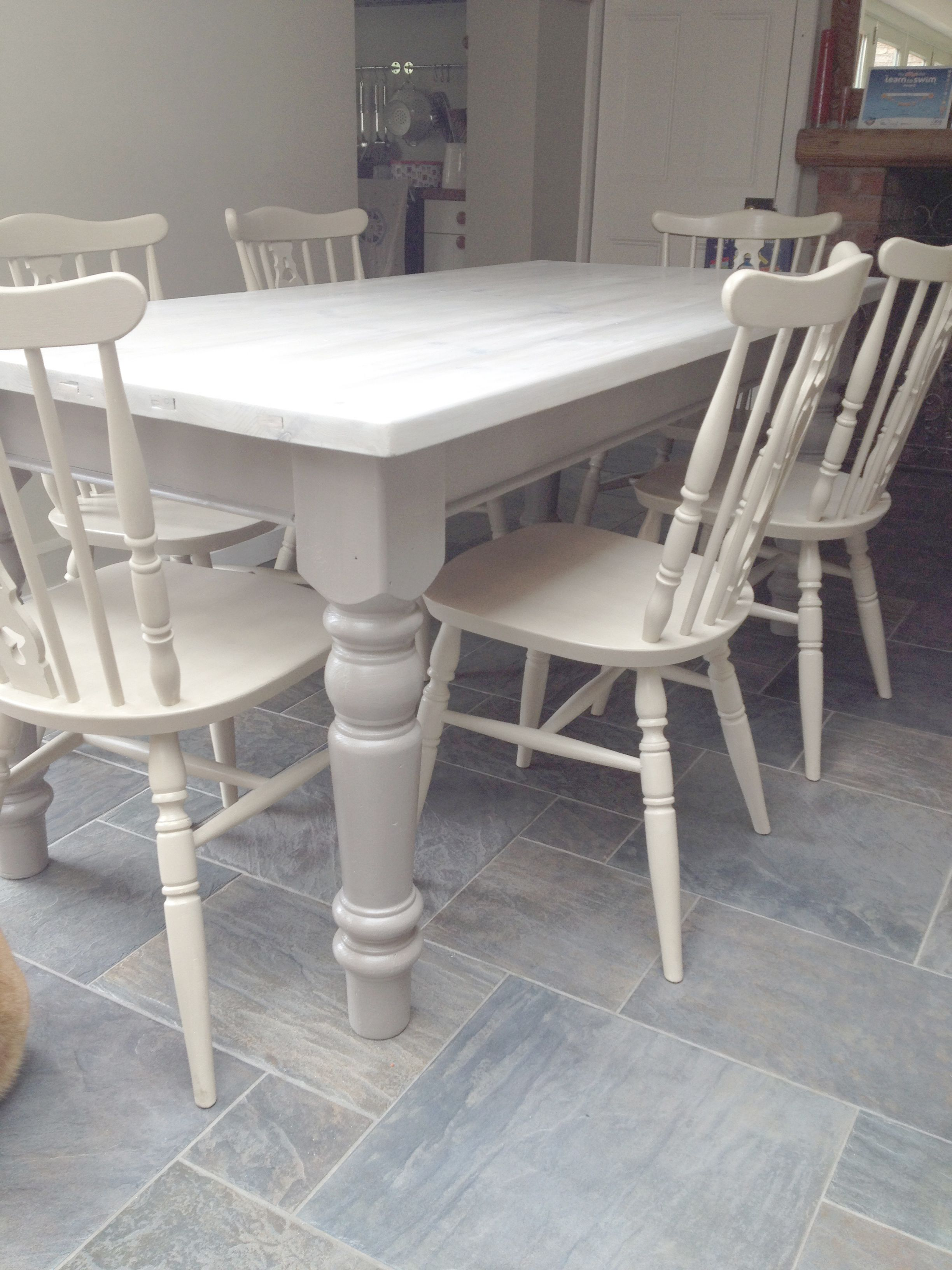 two seat kitchen table Dining chairs given a 2 colour distress using Annie Sloan Cream over Country Grey Dining