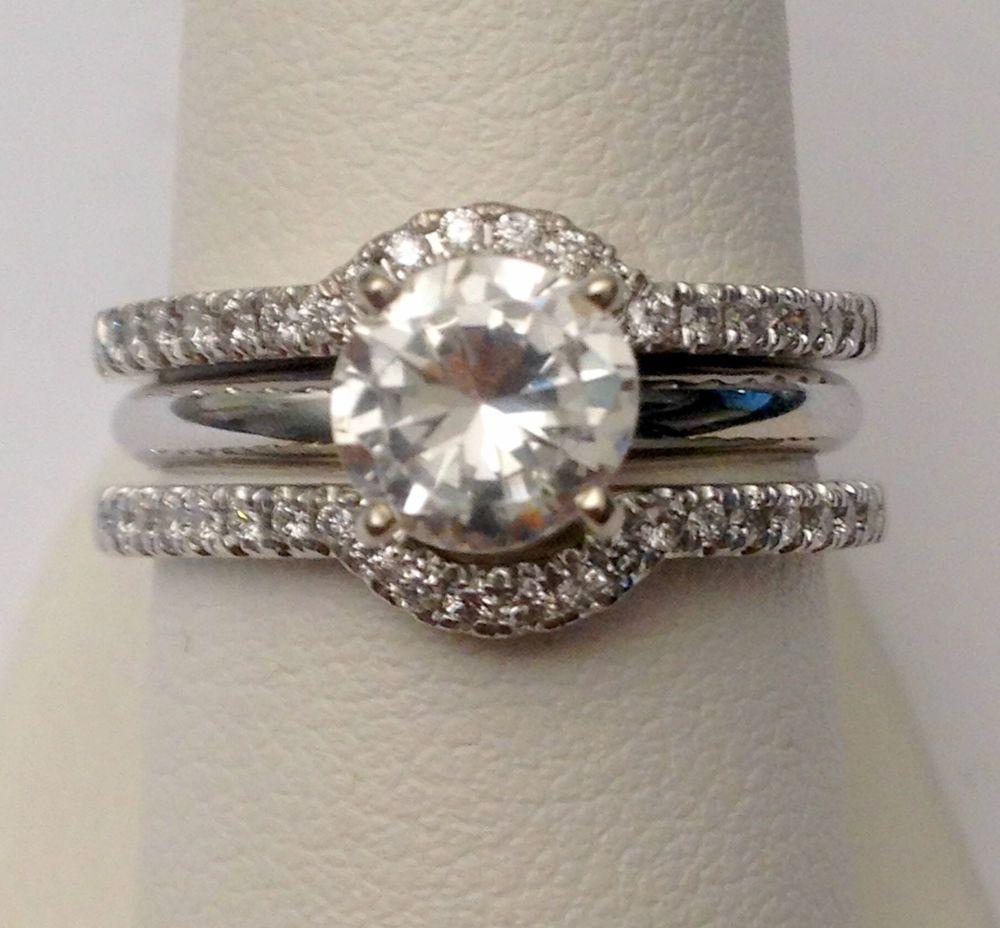 contour diamond wedding band Solitaire Enhancer Diamonds Ring Guard Wrap White Gold Contour Band Halo Style