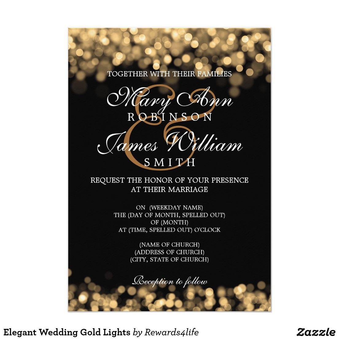 classy wedding invitations Elegant Wedding Gold Lights Card