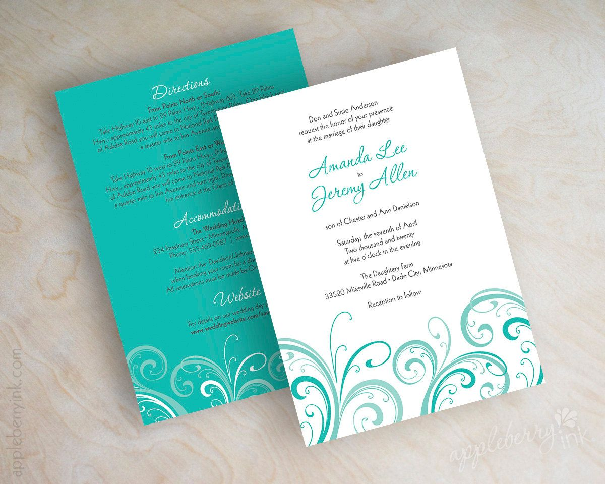 tiffany blue wedding invitations Teal Teal wedding invitation contemporary