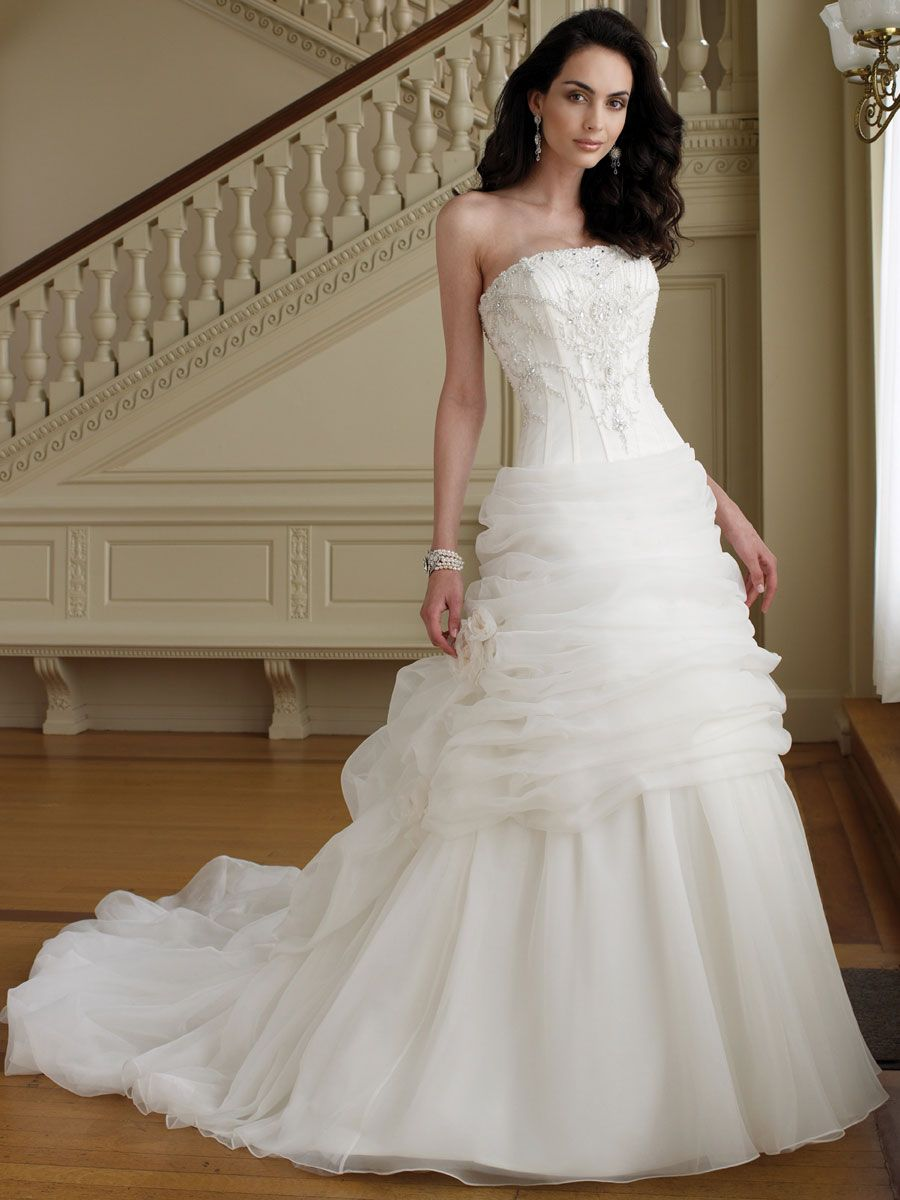 perfect wedding dress Slimming Perfect Beaded Strapless Organza Ball Gown Wedding Dress with Draped Underskirt