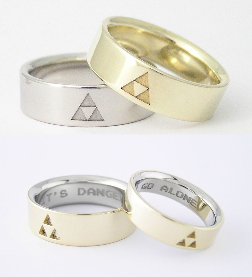 triforce wedding ring Zelda Triforce Wedding Bands from Zsolt Szekely http www