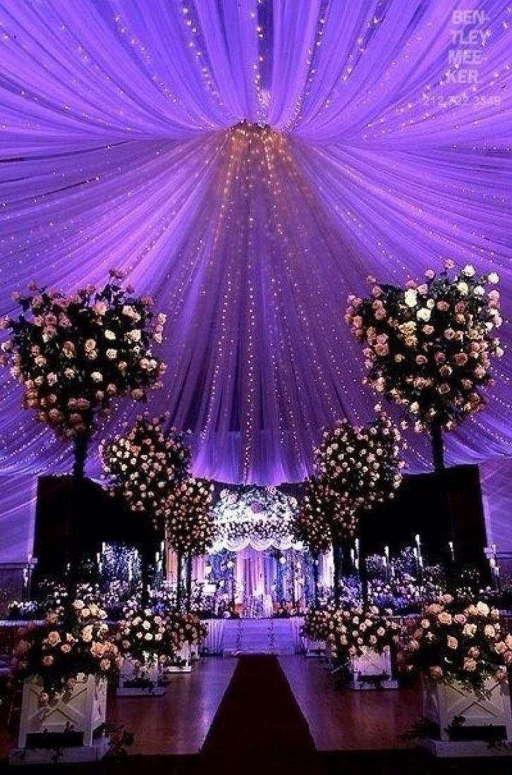 wedding decor starry night inspired purple wedding decor ideas