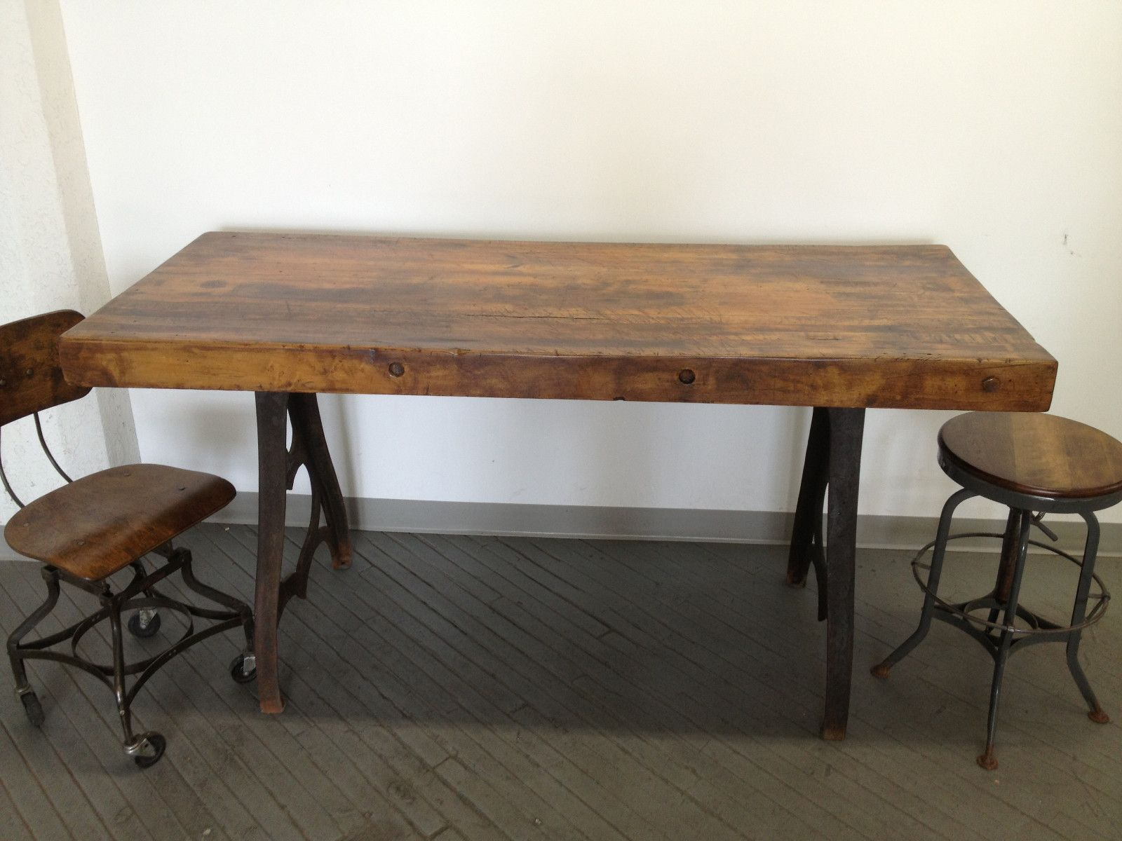 butcher block kitchen table Vintage Industrial Dining Table Cast Iron Bakers Butcher Block Factory 6 Desk