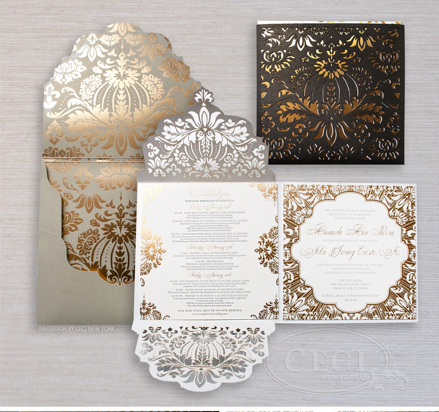 wedding card invitation Luxury Wedding Invitations by Ceci New York Our Muse Gold and Black Wedding at