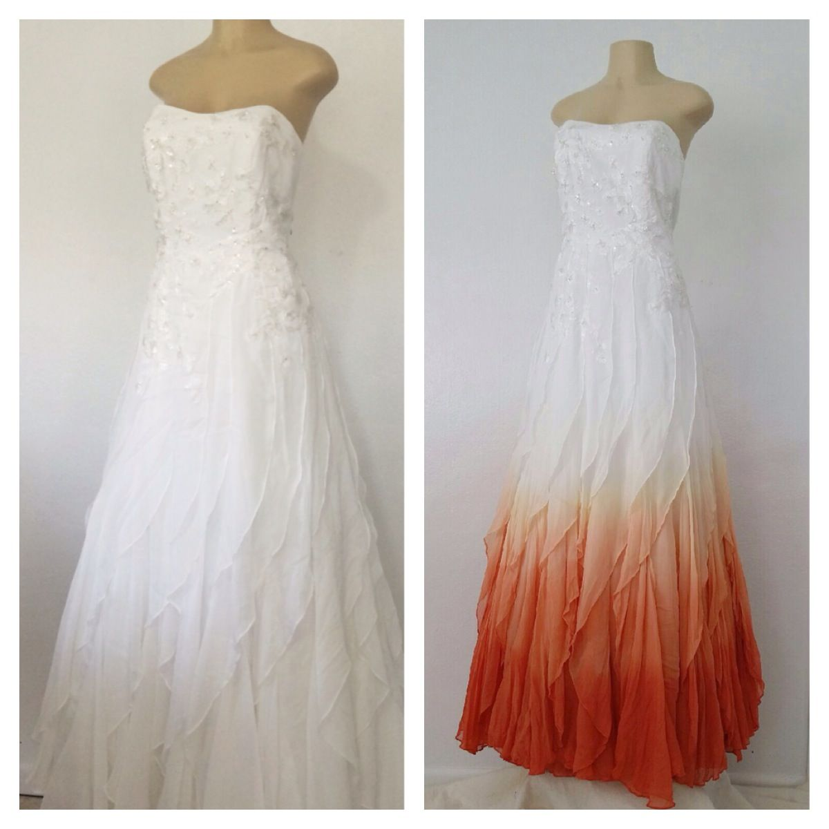 ombre wedding dress This gown was ombre dyed to a deep burnt orange You can see the bride