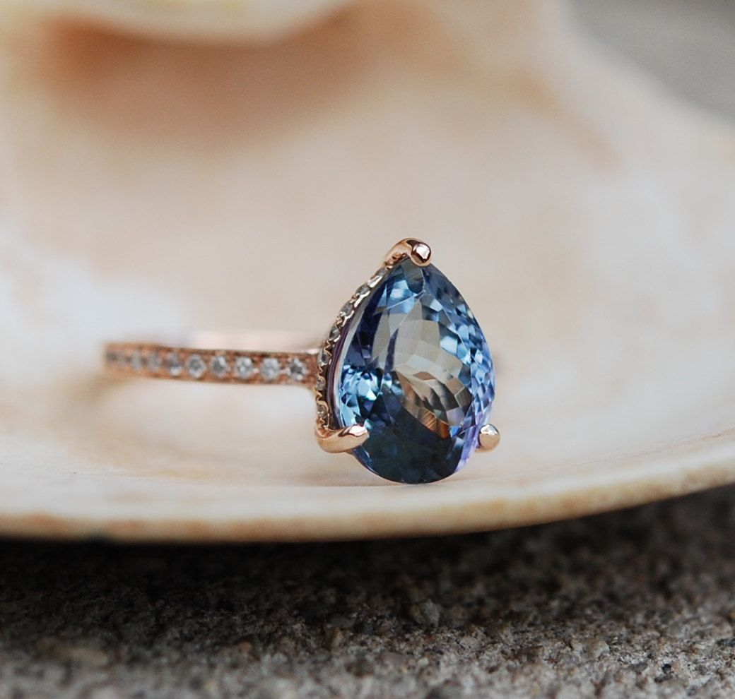 alternative wedding bands Tanzanite Ring Rose Gold Engagement Ring Lavender Mint Tanzanite pear cut halo engagement ring 14k rose gold
