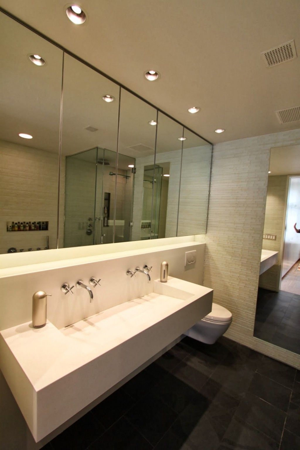 cool recessed lighting. bathroom with large wall mirror design