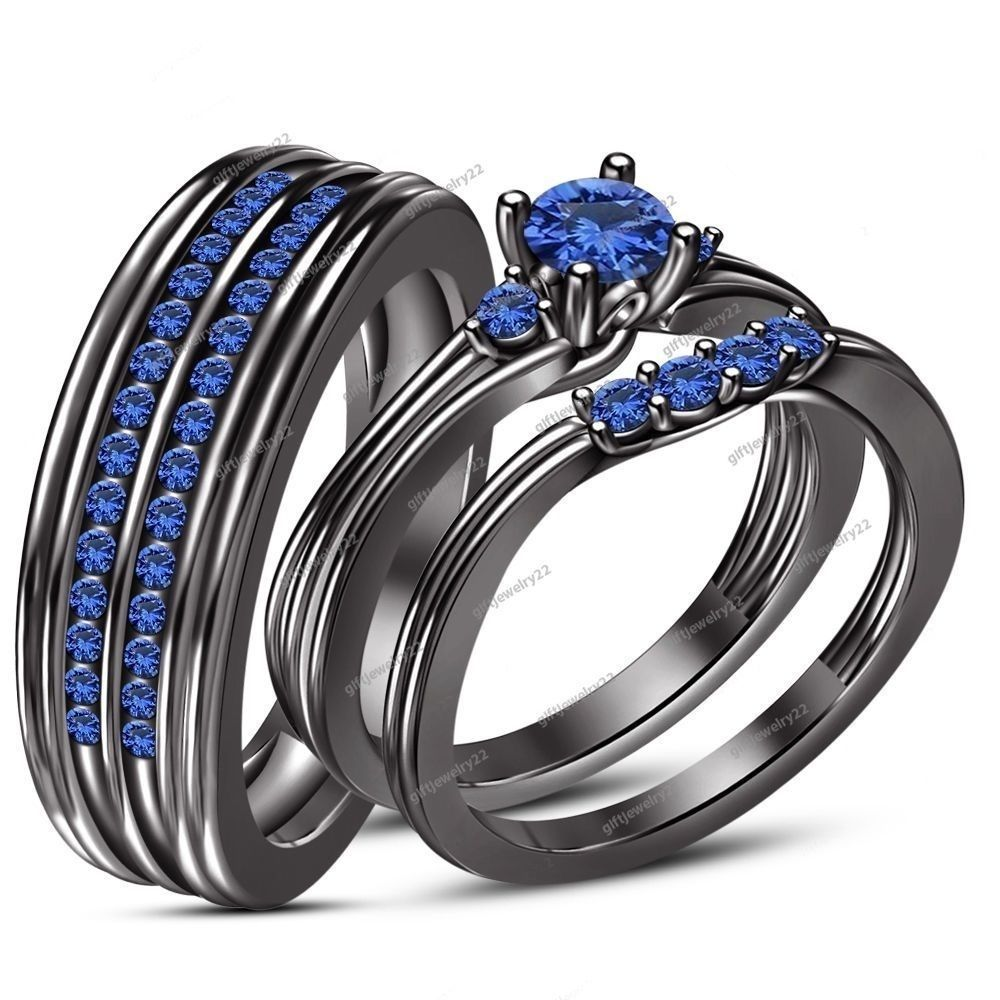 trio wedding ring set His Her 0 74 CT Blue Sapphire With 14k Black Gold Finish Trio Wedding Ring Set