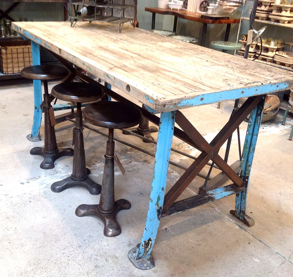 metal kitchen table Steel and Reclaimed Wood Furniture vintage worktable blue metal legs reclaimed wood top jennifer price