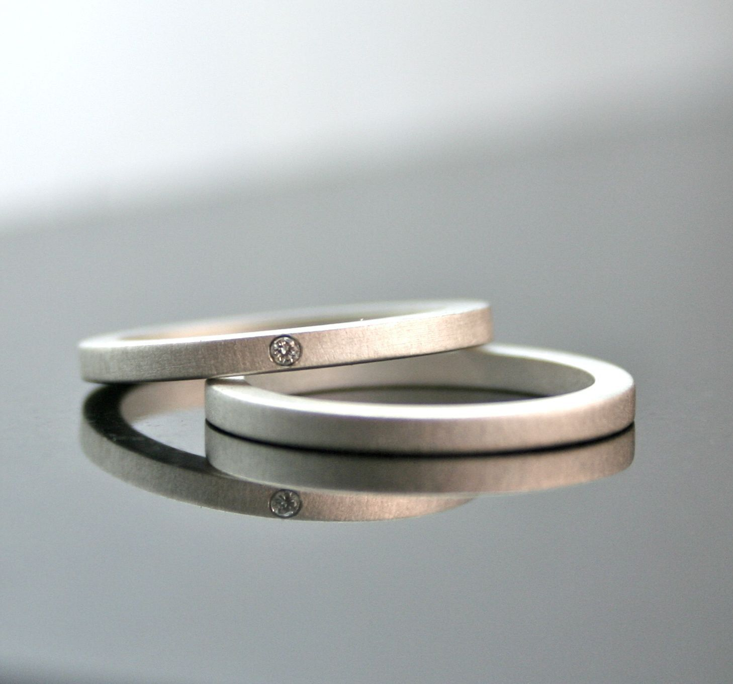 unique wedding band sets One Tiny Diamond Ring Set Simple Wedding Rings Sterling Silver Engagement Ring Set Matte Finish Simple Diamond Ring Modern 2 mm