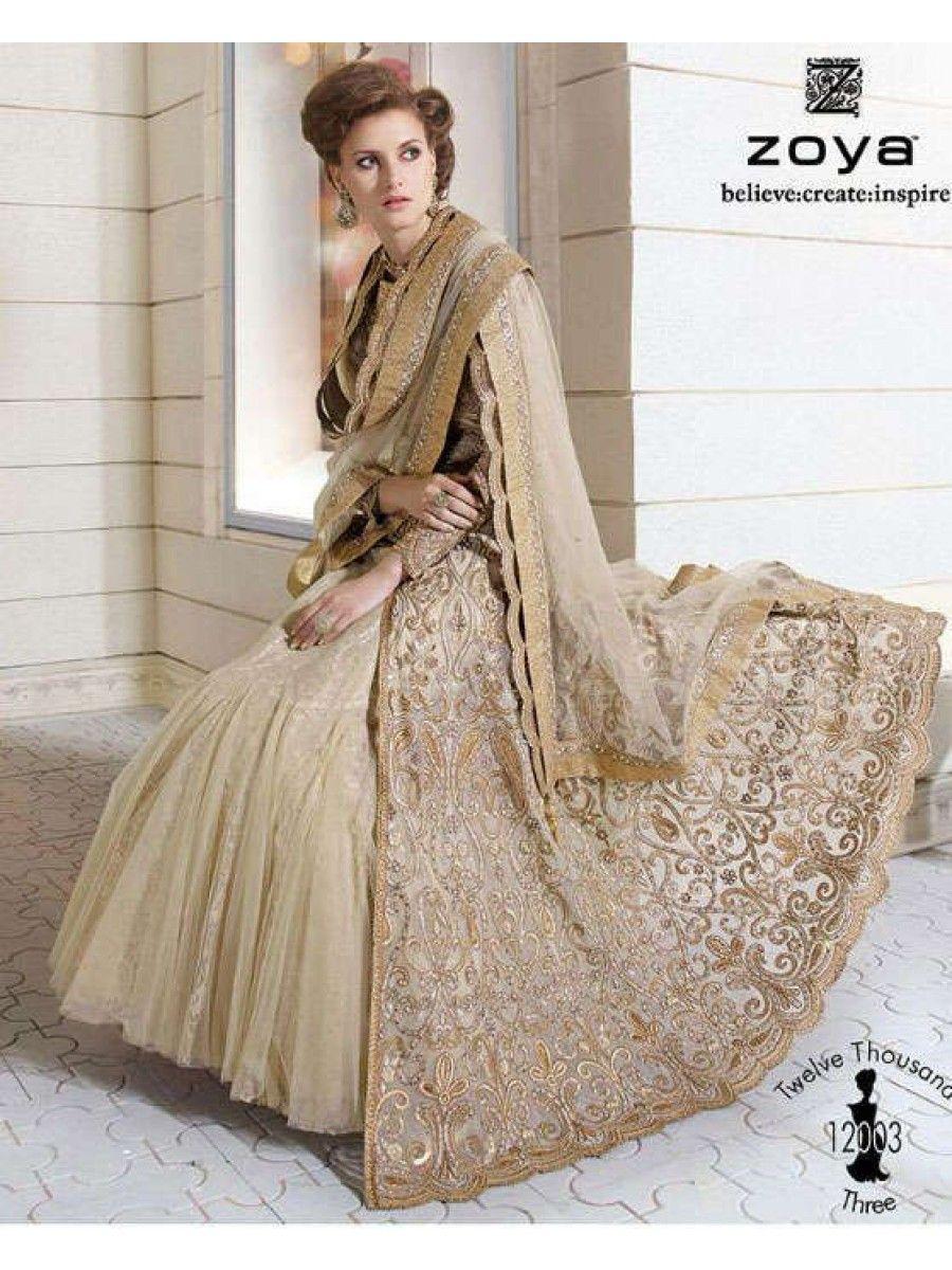 beige wedding dress Zoya Designer Royal Golden Beige Colour Embroidered Wedding Dress