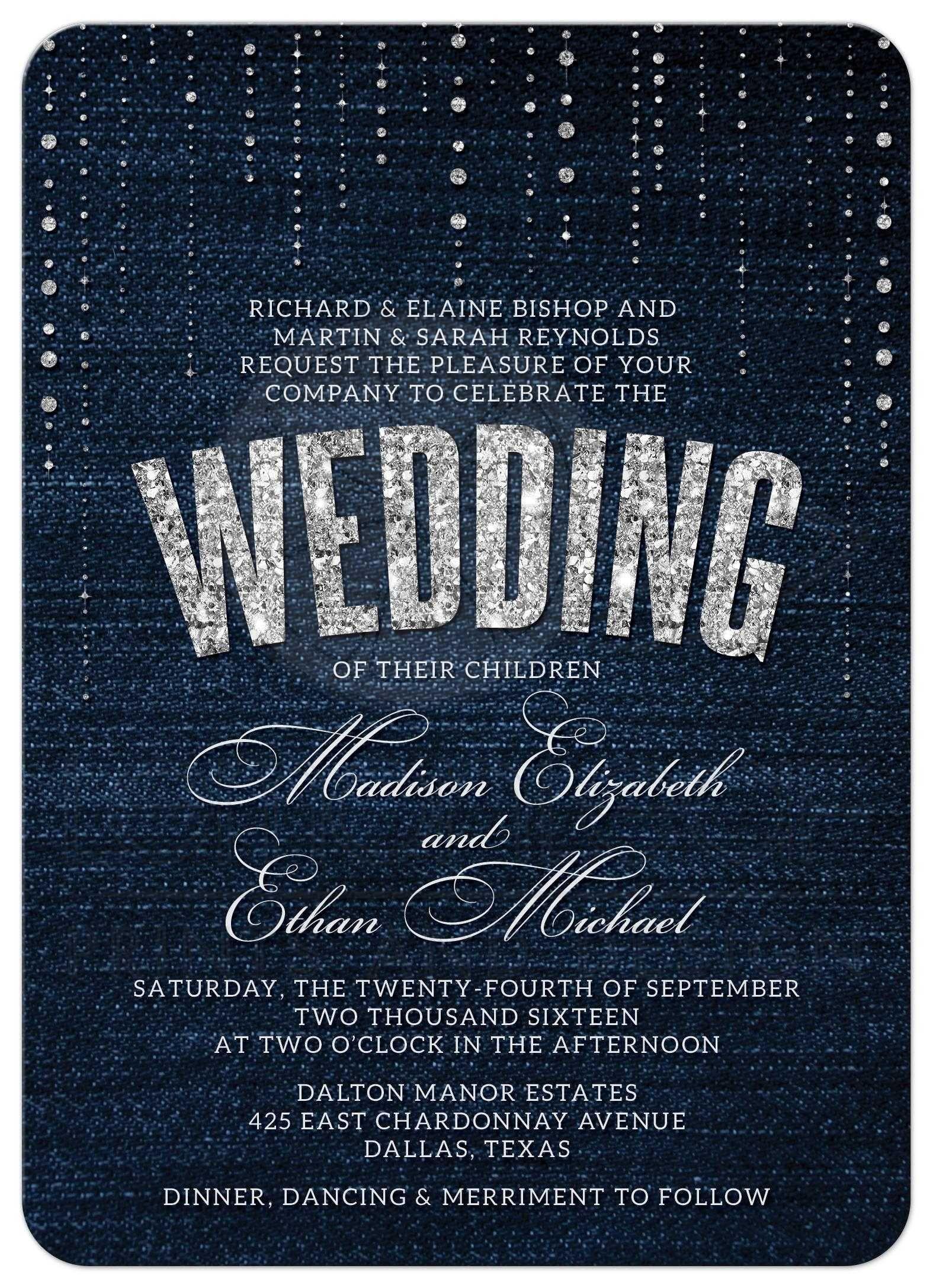 bling wedding invitations Denim Diamonds Wedding Invitations front