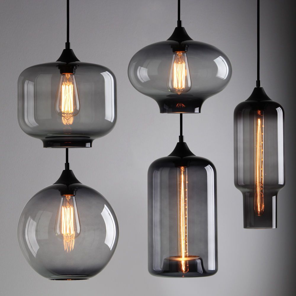 details about modern industrial smoky grey glass shade loft cafe pendant light ceiling lamp cafe lighting ideas