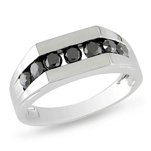 wedding rings walmart Black Diamond Miadora 10 K White Gold 1ct Black Diamond Men s Ring Rings