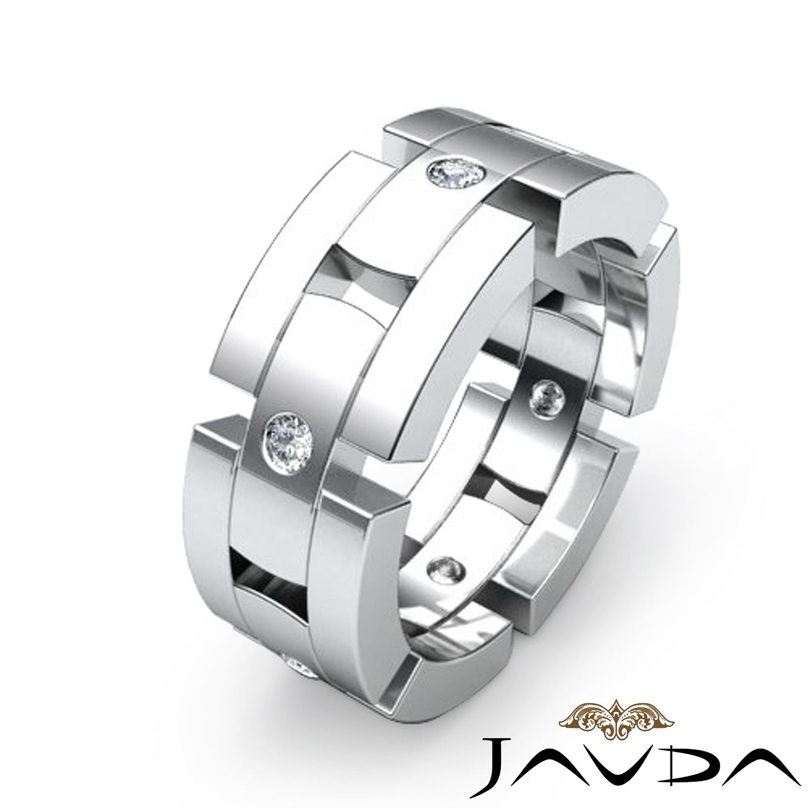 wedding rings ebay 8 5mm Men Block Link Eternity Wedding Band Round Diamond Ring Platinum 0 35C