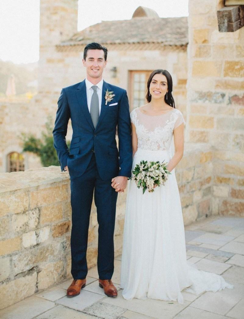 wedding suits 13 Ways to Spoil Your Groomsmen Groomsmen suits Grey suit brown shoes and Blue ties