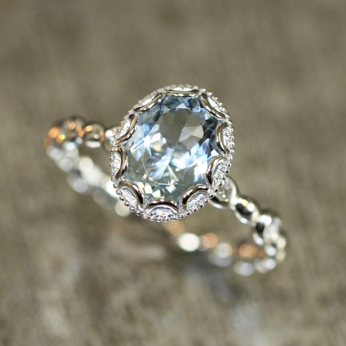 birthstone wedding rings Floral Aquamarine Engagement Ring in 14k White Gold Pebble Diamond Wedding Band mm Oval Aquamarine Ring March Birthstone Gemstone Ring
